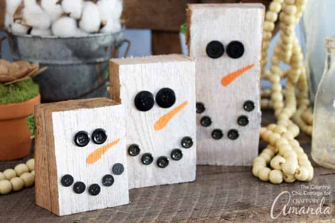 Snowman side: Reversible scrap wood pumpkins