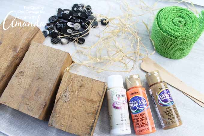 Supplies you'll need for reversible scrap wood pumpkins