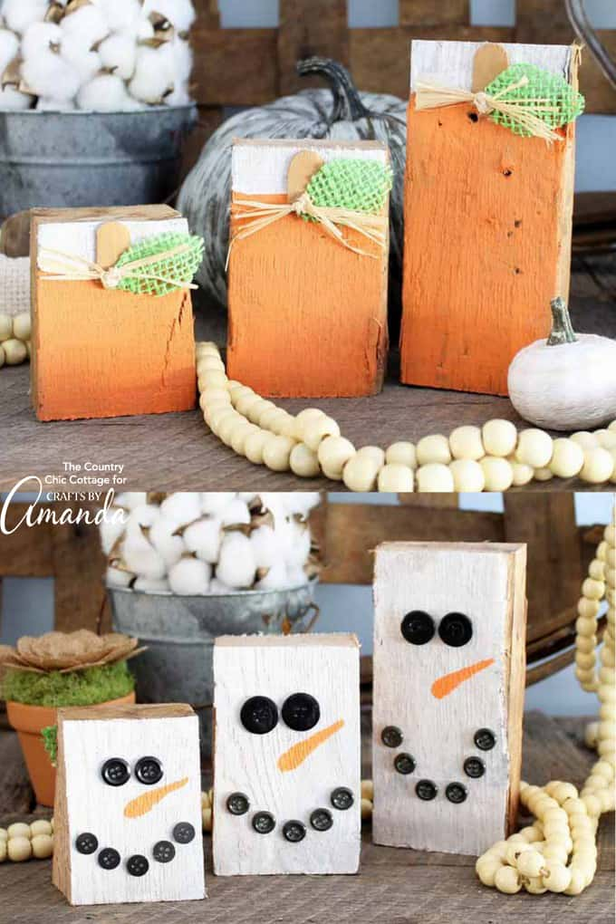 Adorable Reversible Scrap Wood Pumpkins
