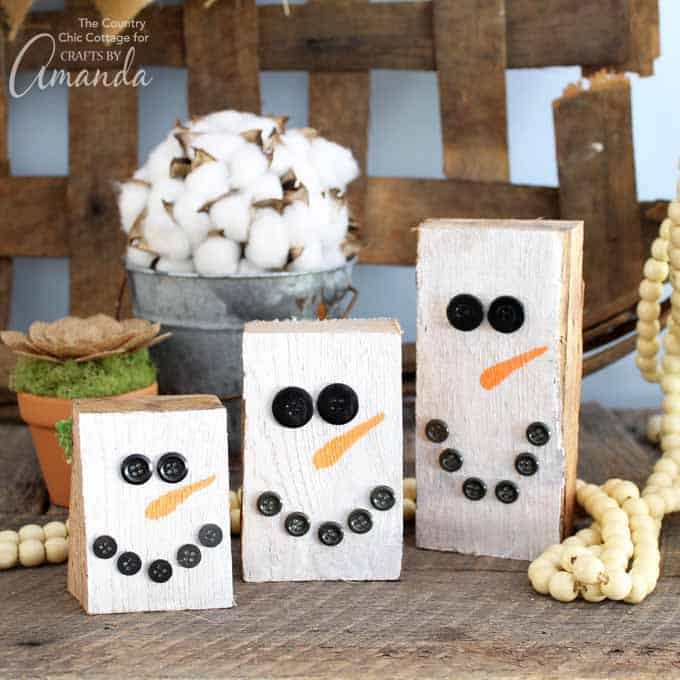 One side- scrap wood snowmen