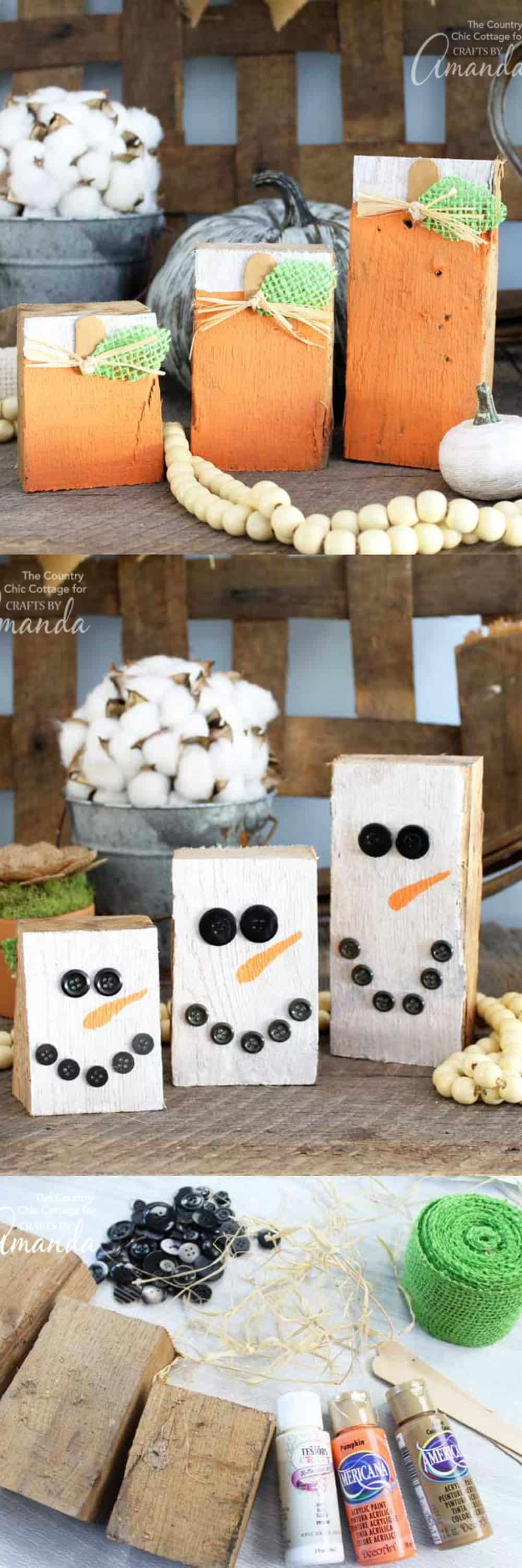 These reversible scrap wood pumpkins are super easy to make. One side has adorable pumpkins for fall and the other side has cheery snowmen for winter time!