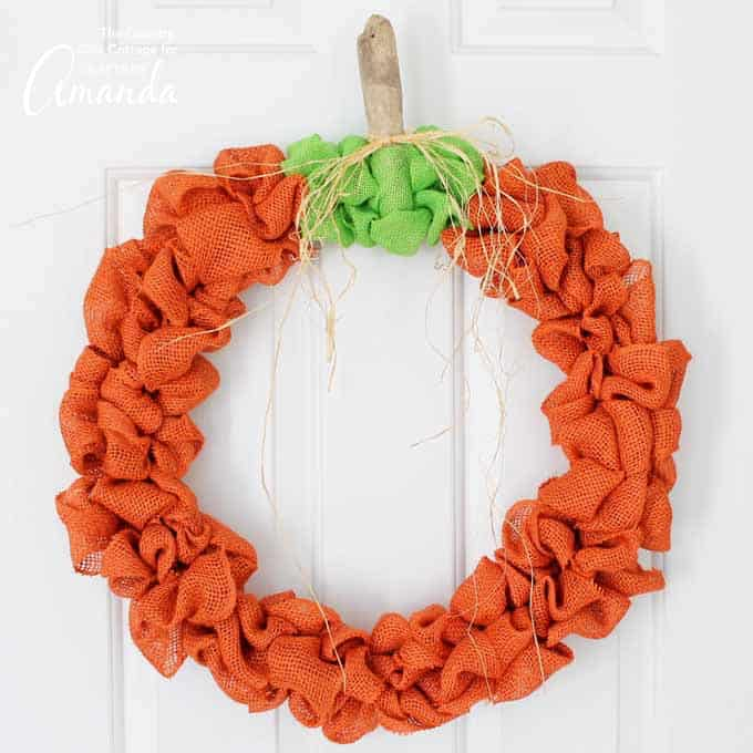 pumpkin wreath made from burlap