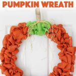 This burlap pumpkin wreath is perfect for fall & all the way through Thanksgiving. You can also use this to make a plain burlap wreath to embellish however! #burlap #pumpkincrafts #pumpkin #wreath #diywreath #falldecor #fall #fallwreaths #burlapcrafts #thanksgivingcrafts