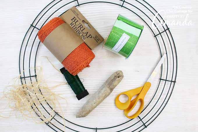 supplies needed for burlap pumpkin wreath