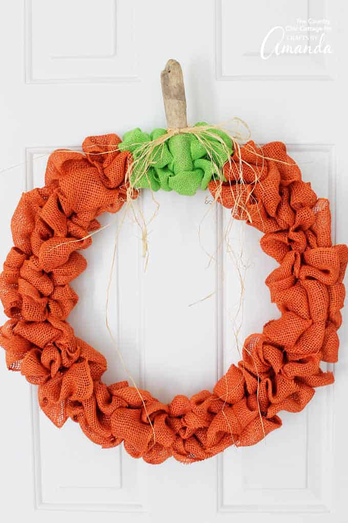 pumpkin shaped wreath made out of burlap