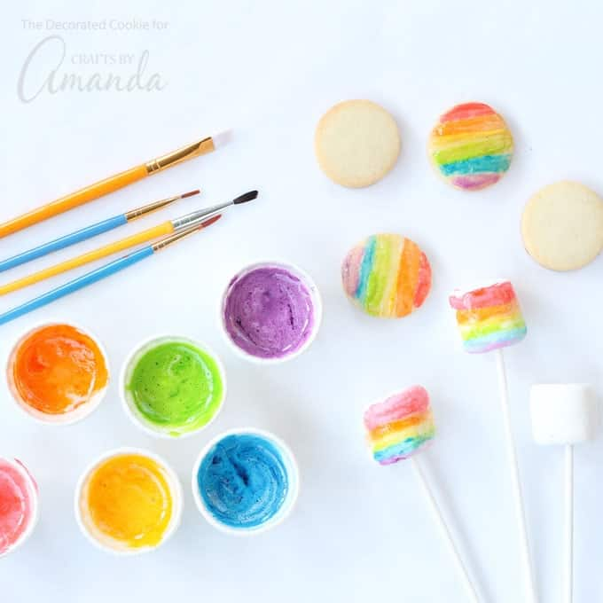 This colorful marshmallow edible paint takes minutes to whip up and can be used to decorate cookies, marshmallows, bread, and even plain old paper.