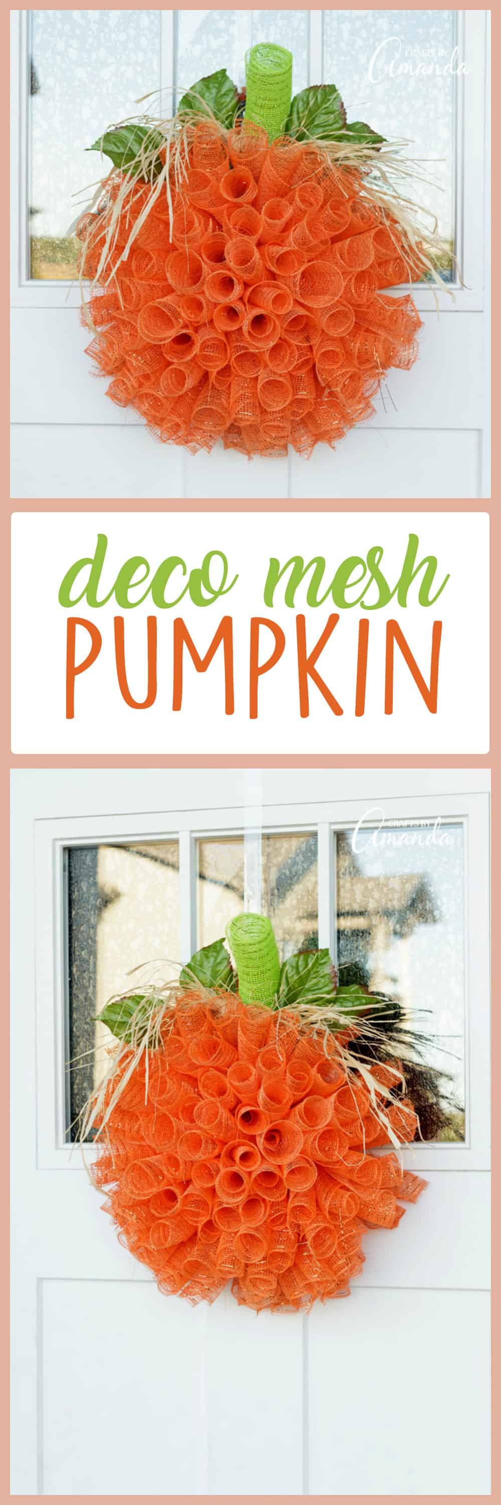 Learn to make this wonderful deco mesh pumpkin wreath to hang on your door this fall! This is a quick and easy project, great for a girl's craft night!