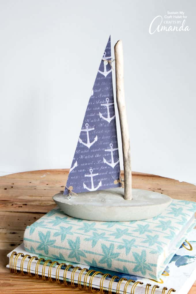 DIY sailboat decor made from concrete and driftwood