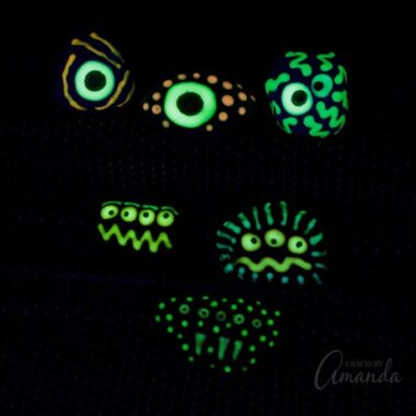 Learn how to make these adorable glow in the dark monster rocks! They are cute in the daytime and when you turn out the lights.