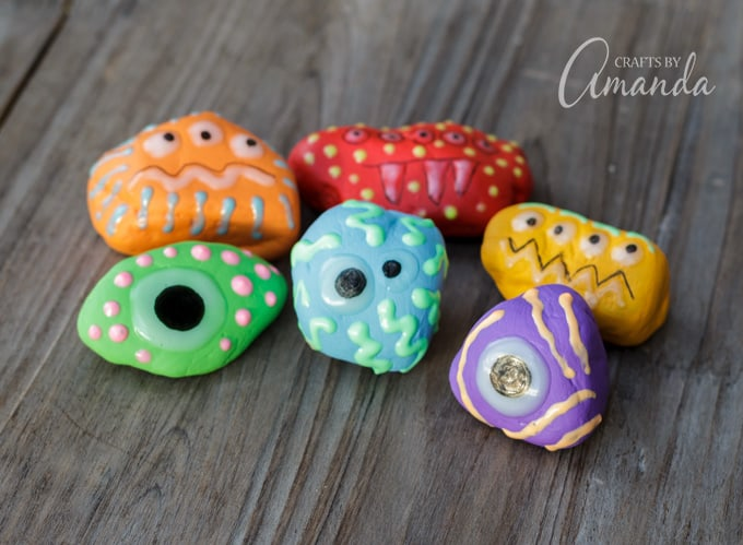 Glow in the dark monster rocks that look fun in the daytime too!