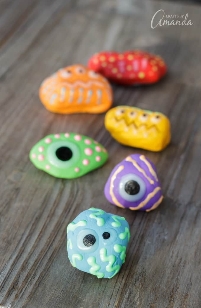These glowing monster rocks are super cute and they are really fun to make. This is more of a weekend project due to drying time, so be sure to plan accordingly.