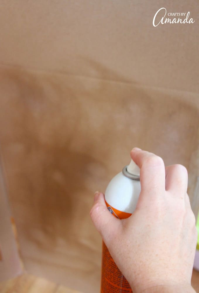 spray adhesive on box