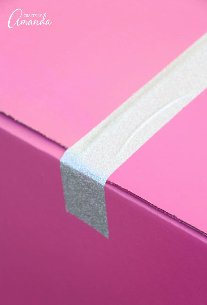 glitter duct tape on pink box