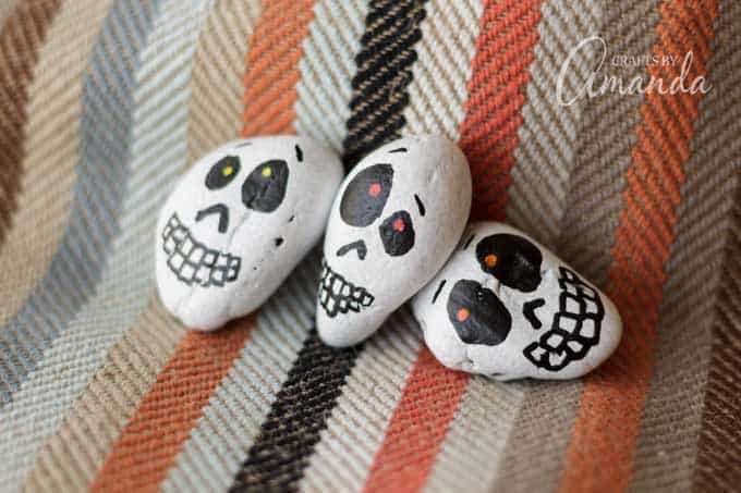 Halloween painted skull rocks