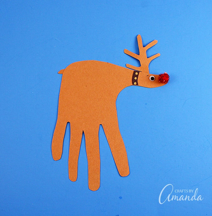 Handprint Rudolph the Red Nosed Reindeer
