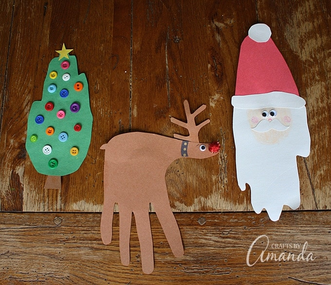 These Christmas handprint crafts include Santa Claus, Rudolph the red-nosed reindeer, a Christmas tree and even a winter themed wreath!