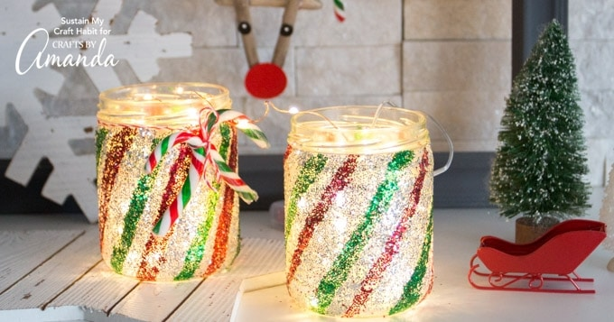 Beautiful twinkling candy cane mason jar luminary