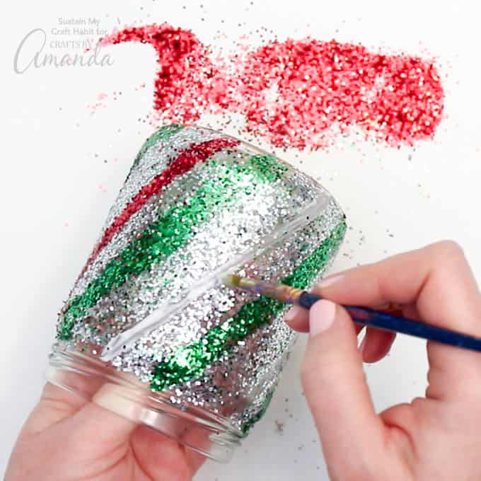 Candy Cane Mason Jar Luminary Step 10