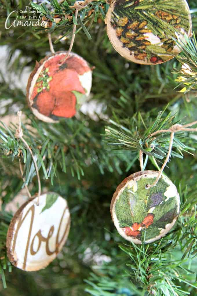 Easy DIY Wood Slice Ornaments using decoupaged napkins!