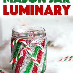 This colorful, glittery candy cane Mason jar luminary is a festive way to add some twinkling warmth to your Christmas decorating. #christmascrafts #christmas #luminary #adultcrafts #glitter #christmasluminaries #recycledcrafts #masonjarcrafts #masonjars #homedecor