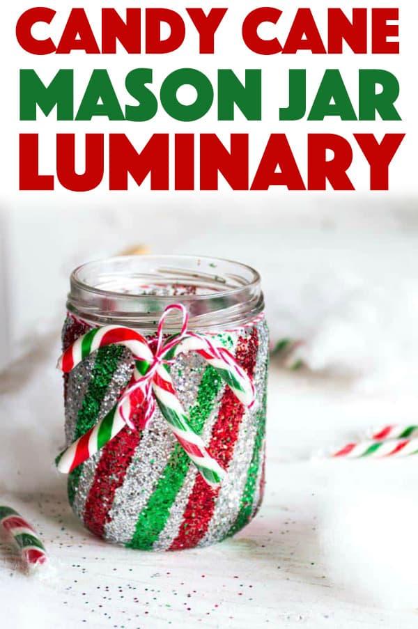 Candy Cane Mason Jar Luminary