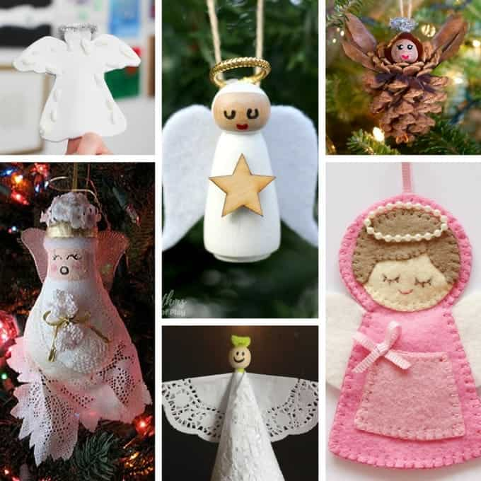 collage of angel crafts for christmas