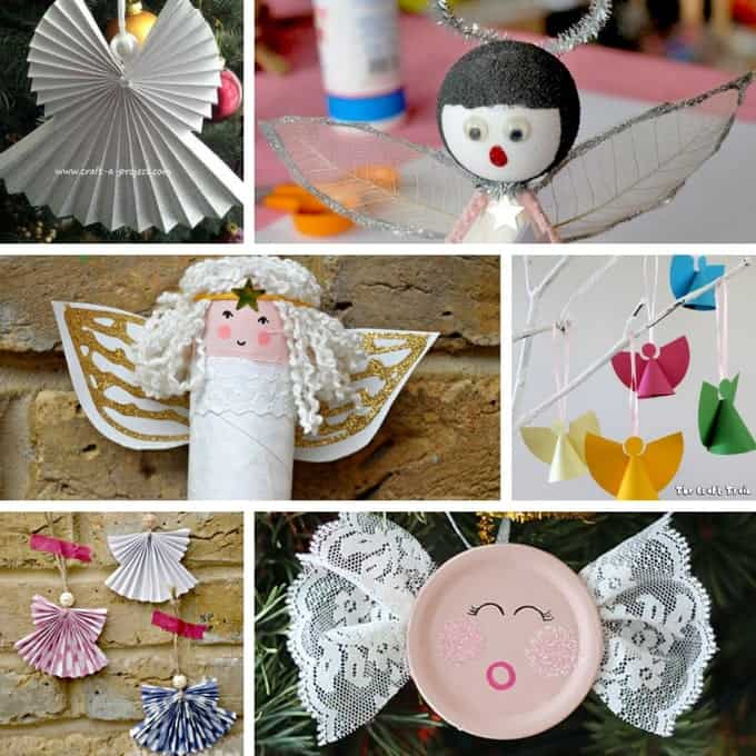 collage of angel crafts