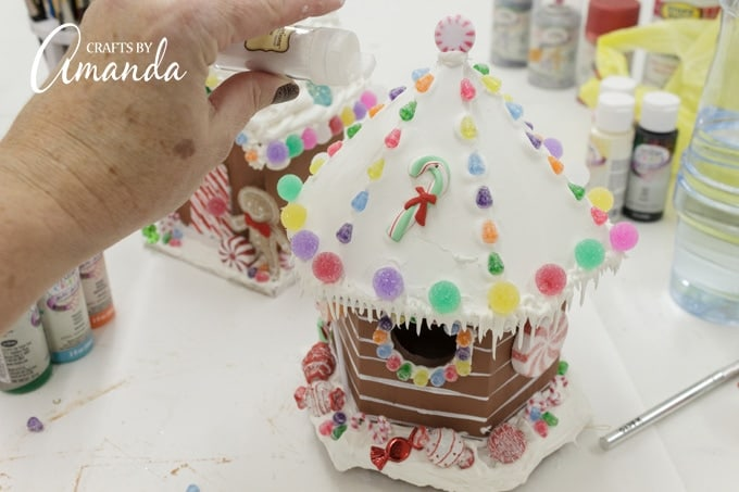After embellishing the roof, I sprinkled it with white glitter.