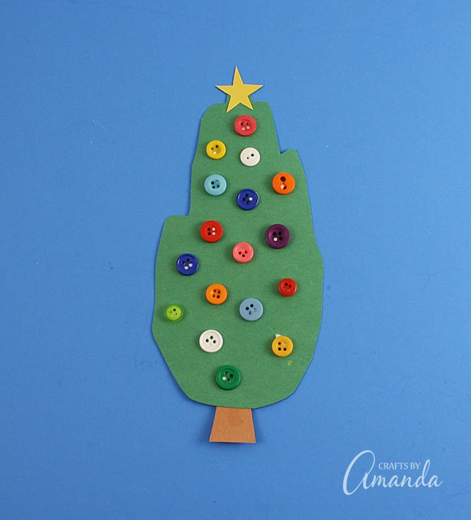 Handprint Christmas Tree with buttons