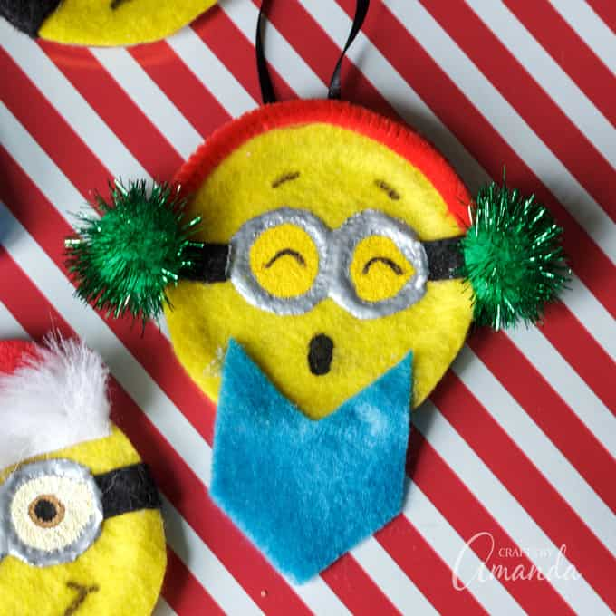 Caroling minion ornament