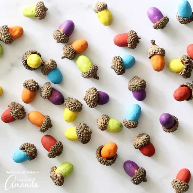 Fun and decorative painted acorns!