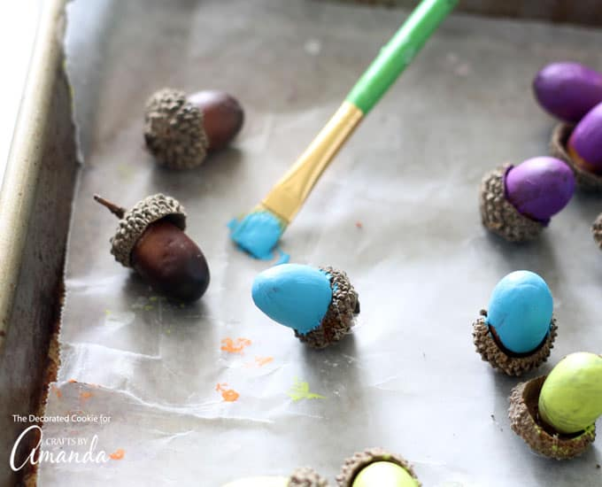 How to make painted acorns step 2