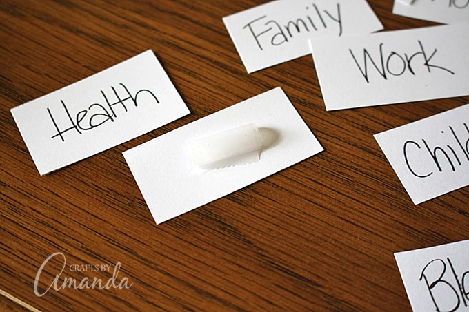 Cut card stock into rectangles that will fit onto your leaf shapes. Use a fine tip pen to write words that remind us of what we are thankful for.