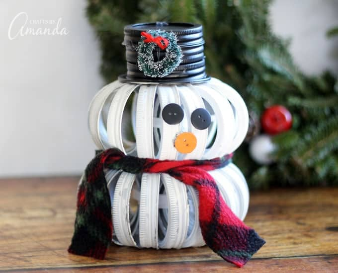 Mason Jar Lid Snowman with scarf and hat