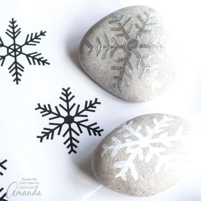Painted Rock Snowflakes step 2
