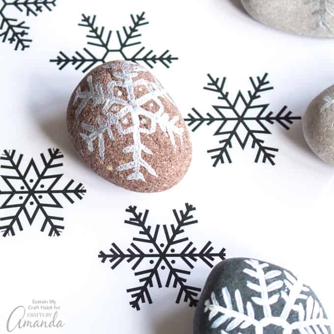Painted Rock Snowflakes step 3