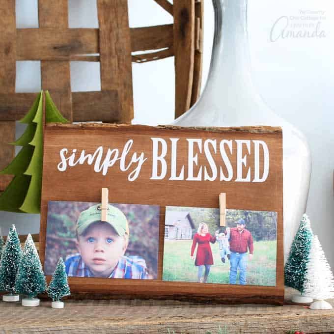 This rustic wood frame is great for parents, grandparents, friends, or just about anyone that is simply blessed. Look no more for an easy DIY gift!