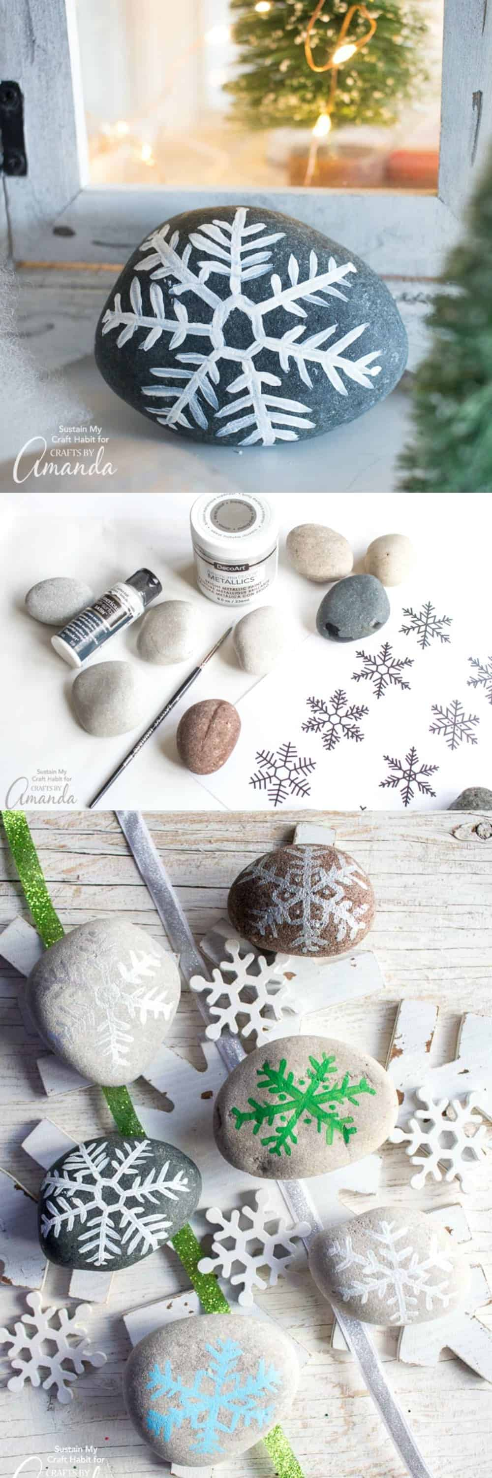 Painted Rock Snowflakes: an easy winter craft anyone can do