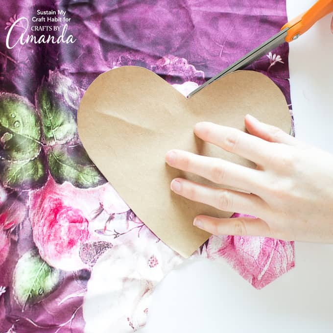 How to make a Heart Garland Step 1- cutting template from fabric