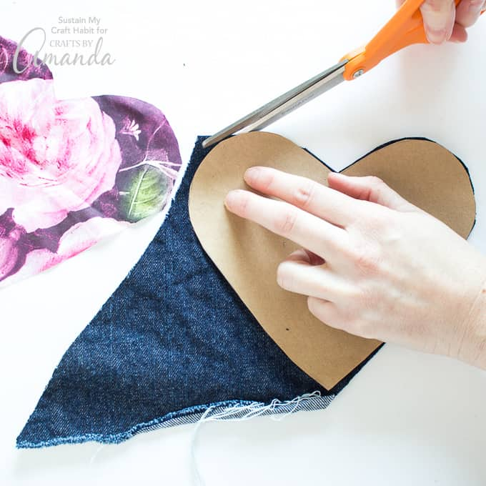 How to make a Heart Garland Step 2- cutting template on fabric