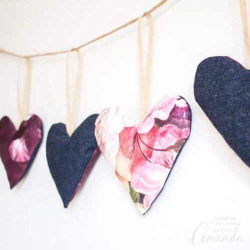 Set the mood for love with this project idea. Using some leftover scrap fabric, we'll show you how to make a beautiful DIY heart garland.