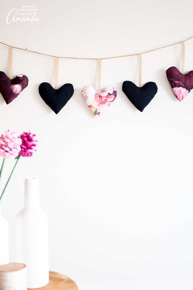 Fabric Scrap Heart Garland