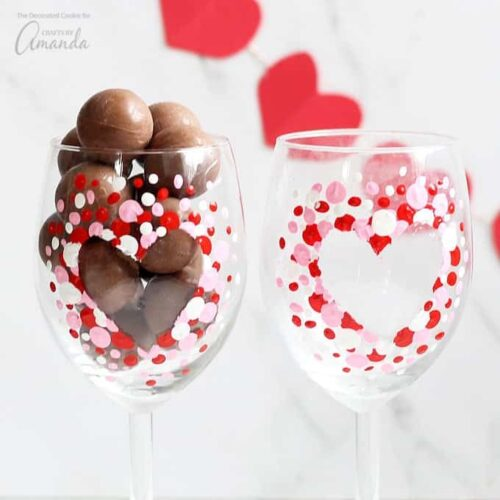This how to paint wine glasses project makes a great heart day gift packaged with a bottle of wine or chocolates or keep them to fill and share with your own love.