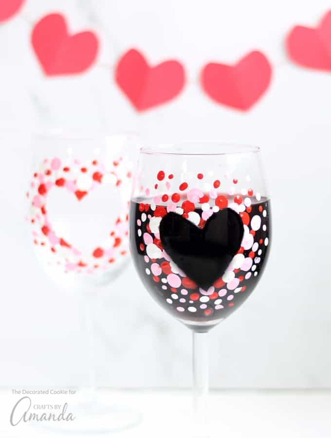 Heart shaped painted wine glasses
