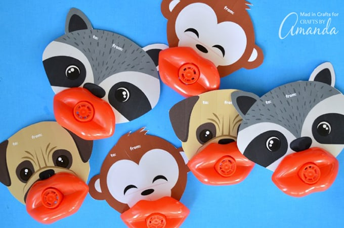 Fun Lip Whistle Valentines for Valentine's Day, raccoon, dog, and monkey.