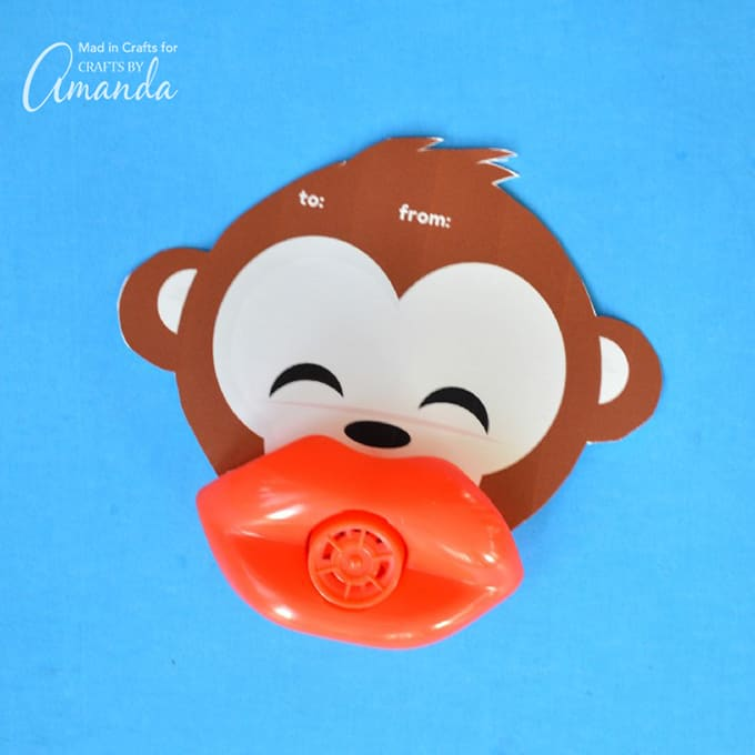 Funny Lip Whistle Valentines- Monkey