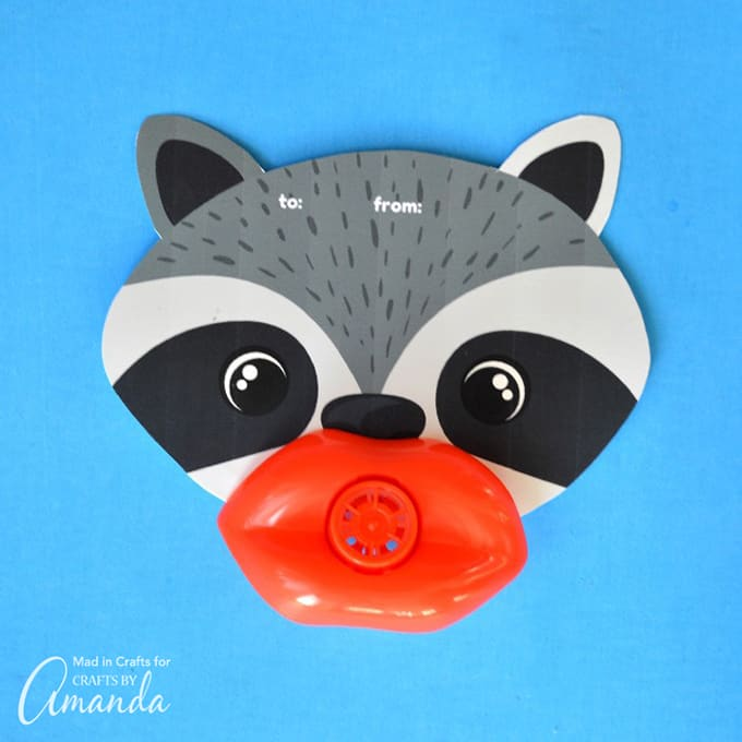Funny Lip Whistle Valentines- Raccoon