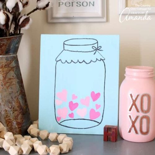 Make this Mason Jar Valentine's Day art in minutes with our free printable template.  Add it to your home decor for a touch of love during the blah winter months.