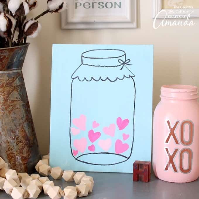 Mason jar valentines day art easy and cute valentines day art make this mason jar valentines day art in minutes with our free printable template add pronofoot35fo Images