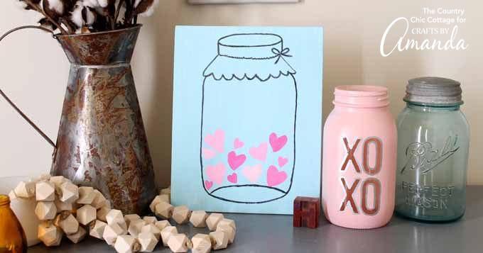 Mason Jar Valentine S Day Art Easy And Cute Valentine S Day Art